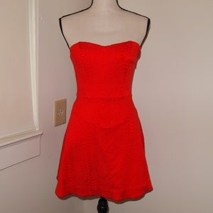 Bebe Strapless Fit & Flare Red Dress Sz 4